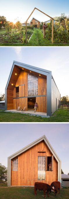 MOTIV Architects have designed a modern barn with a hayloft that can be used as a vibrant community gathering space, suitable for concerts, weddings and long-table dinners. #ModernBarn #ModernArchitecture
