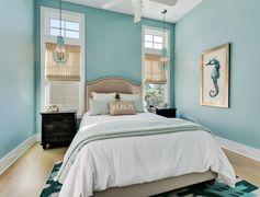 Sweet aqua coastal bedroom with seahorse print
