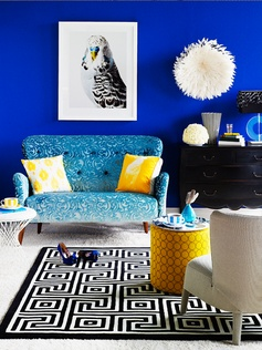 Cobalt blue and yellow. Styled by Marie Nicholls | American Glamour in the style of Jonathan Adler