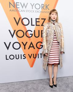 Léa Seydoux wearing a look from the Spring-Summer 2018 Collection by Nicolas Ghesquiere at the opening of the Louis Vuitton Volez, Voguez, Voyagez Exhibition at the historic American Stock Exchange in New York City.