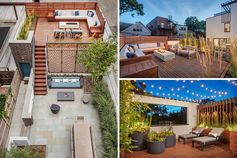 Chicago based Mia Rao Design and Blender Architecture have collaborated to created a modern outdoor entertaining area with different 'rooms'. #Landscaping #Architecture #OutdoorLounge #RooftopDeck #Terrace #OutdoorEntertaining