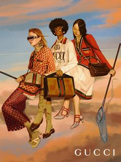 Fishing in the clouds, cupolas on the horizon: inside an artwork by Ignasi Monreal for the Gucci Spring Summer 2018 campaign Gucci Hallucination. In looks by Alessandro Michele, the women also wear crystal-studded Gucci Eyewear and carry GG motif and Web stripe bags.  Creative Director: Alessandro Michele Art Director: Christopher Simmonds