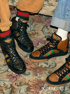 High tops from the Gucci-Dapper Dan collection, featuring the GG motif and the Web stripe.