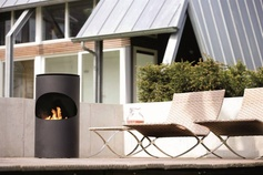 Modern and mobile outdoor fireplace. © Ruby Fires
