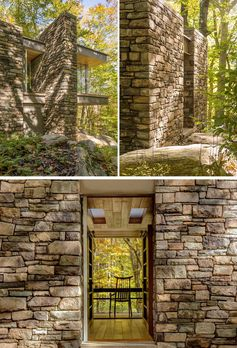 This modern cabin is clad in fieldstone and bluestone, and constructed to resemble a historic dry stacked, mass stone wall. #Cabin #Studio #Architecture #Stone