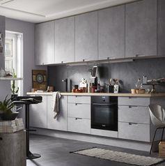 Cuisine moderne effet beton gris : equipée modèle Delinia Berlin #cuisine #kitchen #gris #beton #equipée #ouverte #comptemporaine #leroymerlin