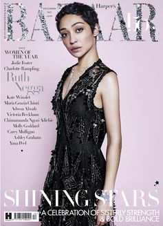 Ruth Negga wearing a look from the Louis Vuitton Cruise 2018 Collection by Nicolas Ghesquiere on the cover of Harper's Bazaar UK