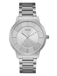 Brushed and Polished Silver-Tone Classic Watch