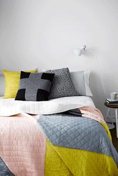 colour inspiration - love the grey and yellow with light pink!