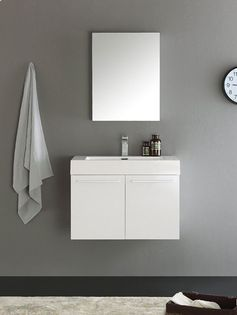"Senza 30"" Vista Single Wall Mounted Modern Bathroom Vanity Set with Mirror"