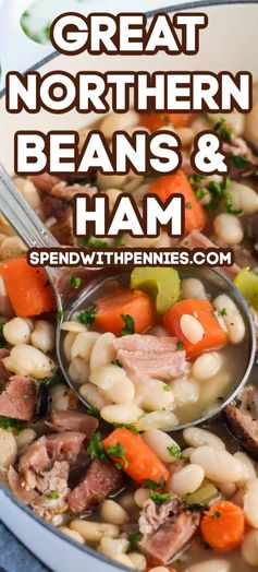 This ham and beans recipe is quick and easy to prepare. Made with great northern beans and ham hock this soup can easily be prepared in the crockpot or on the stovetop. #spendwithpennies #greatnorthernbeans #hamandbeansoup #pork #soup #maindish