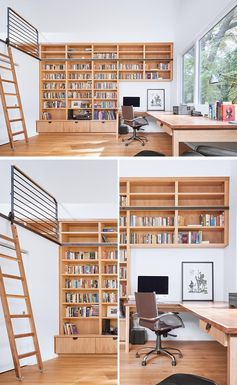 A modern home office with a large wood desk, bookshelves, and a loft that's designed as a guest suite.