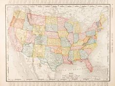 Antique Vintage Color Map United States of America, USA Premium Photographic Print by qingwa at AllPosters.com