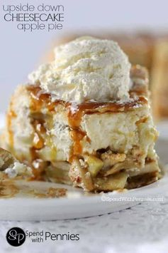 Upside-down Cheesecake Apple Pie Recipe! Cheesecake is paired with perfect apple pie filling and wrapped in a flaky crust for the perfect dessert!