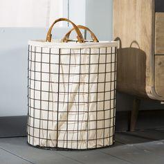 Panier à linge en métal filaire (par 2) doublure coton blanc : Decoclico