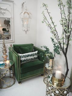 Find out how to create luxurious home décor with these simple tips and ideas. Green sofa, brass and gold accents, bar cart drinks trolley. Bohemian interiors and inspiration.