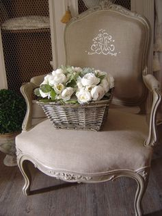 Swede Dreams: Chair Musings. I like the embroidery on this natural linen.