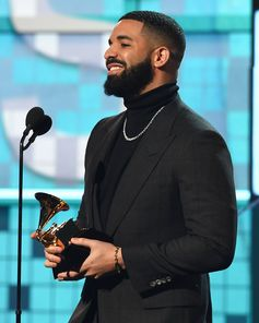 Winner of 'Best Rap Song', Drake in TOM FORD at the 61st Annual Grammy Awards in Los Angeles.  #TOMFORD #GRAMMYs