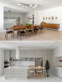 Sliding panel doors can either hide from or open the kitchen to the dining room.