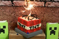 Minecraft TNT cake.