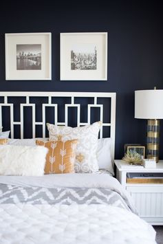 Bedroom Tour<p><p style='width: 75%; margin:0 auto ; '> <span style='font-style: italic; font-size:14px;'>A grey and navy moody bedroom </span><hr style='width:50%'>