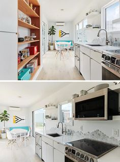 A small shipping container house with a bright open plan living room and kitchen.