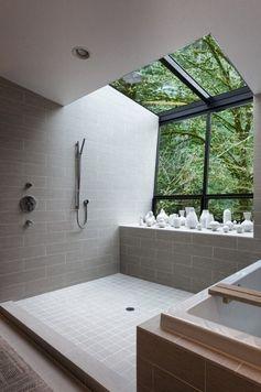Bathroom. Open Shower. Tub. Skylight. Nature. Window. Modern. Interior Design.