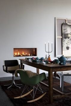 Cosy, a fireplace at the dining room. @ Tulp