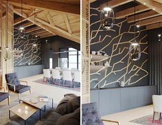 Accent Walls Designed To Look Like Branches