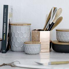 Pot de conservation en céramique grise et bambou Bloomingville sur decoclico