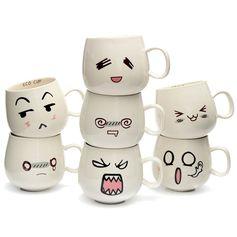 Expression mignonne créatrice de 300 millilitres tasses céramiques tasse de lait de café de thé de chope de visage mignonne