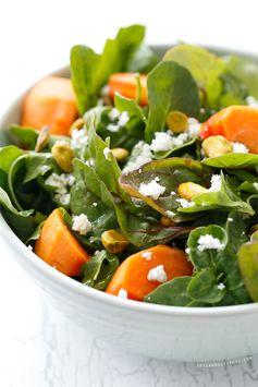 Persimmon Salad with Blood Orange Vinaigrette - The Blood Orange Vinaigrette provides a sweetness to this salad.
