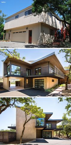 The original house had a tan colored vertical siding with no definition between the levels of the home. The renovation included covering the upper portion of the house with wood siding and expanding the eaves. #HouseRenovation #ModernRenovation #Architecture
