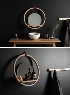 A modern round wall shelf with a ledge and mirror.
