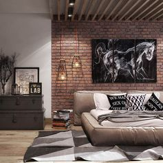 Еще одна спальня в стиле лофт! Спокойной ночи, дорогие подписчики! #рокстоун #лофт #oldbrick #stoneby #loft