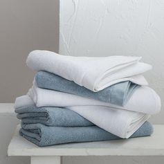 Maom - serviette invité en coton éponge blanc bleu
