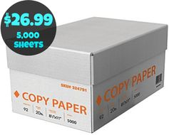 Staples.com: 5,000 Sheet Case of Copy Paper = $26.99 + FREE Shipping! Regularly $45!