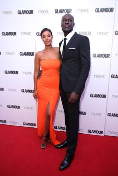 Stormzy arrives at the 2017 Glamour Awards in London yesterday evening wearing Burberry tailoring