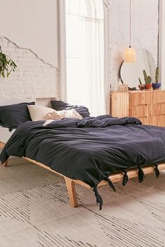Knotted Washed Cotton Duvet Cover