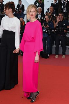 "Feminine and confident Alba Rohrwacher attended the screening of 'Lazzaro Felice' at the #CannesFilmFestival wearing ""Michelina"", a fuchsia crêpe de chine and organza dress from the Valentino Haute Couture Spring/Summer 2018 Collection designed by Pierpaolo Piccioli. #Cannes2018"