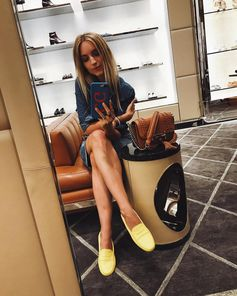 "Charlotte Groeneveld: ""Customising a pair of Tod's Gommino shoes at the Tod's store on Madison Avenue while drooling over these perfect yellow ones. #MyGommino #TodsDoubleT #TodsGommino #Tods #CharlotteGroeneveld"
