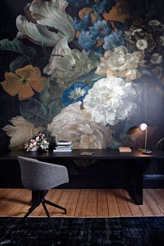 Home Office Ideas - This modern home office features a dramatic and bold floral accent wall. #FloralWall #HomeOfficeIdeas