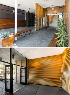 Baran Studio have designed a sculptural accent wall, made from CNC cut plywood, for the lobby of a building in California. #WoodAccentWall #WoodWall #AccentWall #OfficeDesign