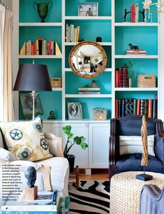 Turquoise shelves, love the mirror