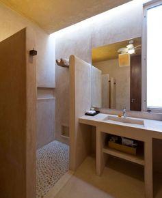 Master bathroom with stronger color on walls, simplicity-Magic Mexican Hacienda