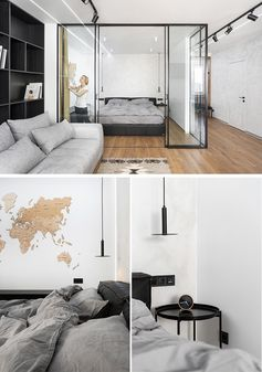 A Glass Enclosed Bedroom Creates A Slightly Separate Space Inside This Small Apartment