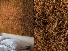 This modern bedroom accent wall adds a textural element and is made from hundreds of bulrush reed stems that were collected and assembled by hand. #AccentPanel #AccentWall #BulrushStems #TexturedPanel #InteriorDesign #BedroomDesign