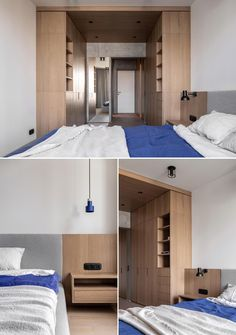A modern bedroom with a large closet area with cabinets, drawers, and shelves on either side of the room.