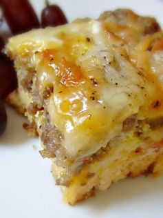 BISCUIT EGG CASSEROLE Ingredients 1 can of buttermilk biscuits (8 count) 1 lb breakfast sausage, cooked & cooled.1 cu sh. mozzarella cheese.1 cu sh. cheddar cheese.5 eggs, beaten 2 egg whites. 3/4 cu milk.1/4 tsp salt 1/8 tsp blk pepper. Preheat oven to 425°F. cook sausage until browned. Drain. Line bottom of greased 8 x 8 inch baking dish with biscuits, firmly press to seal. Sprinkle with sausage and cheese. Whisk eggs, milk, salt, pepper. Pour over sausage.Bake 30 min or until set