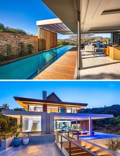 Swimming Pool Ideas - This modern house has glass walls that open to a a lap pool that wraps around the social areas of the home. #SwimmingPoolIdeas #PoolIdeas #SwimmingPool #LapPool #Architecture